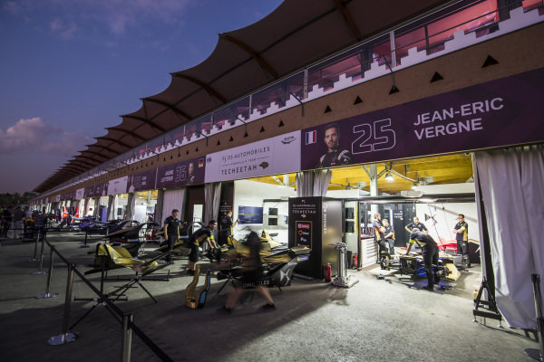 The Techeetah team in the pit lane