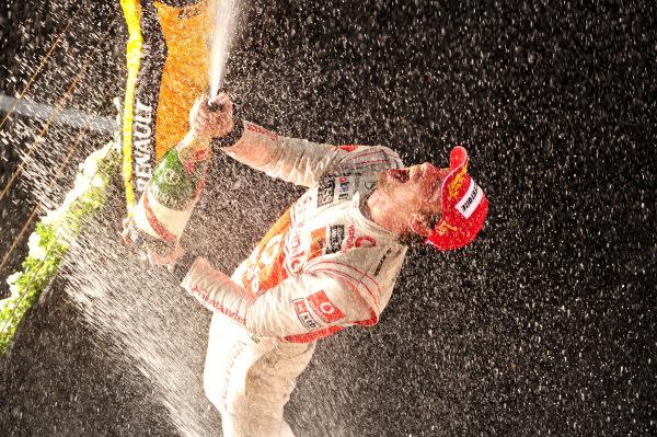 Race winner Jenson Button (GBR) McLaren celebrates on the podium. Formula One World Championship, Rd 2, Australian Grand Prix, Race, Albert Park, Melbourne, Australia, Sunday 28 March 2010.  BEST IMAGE
