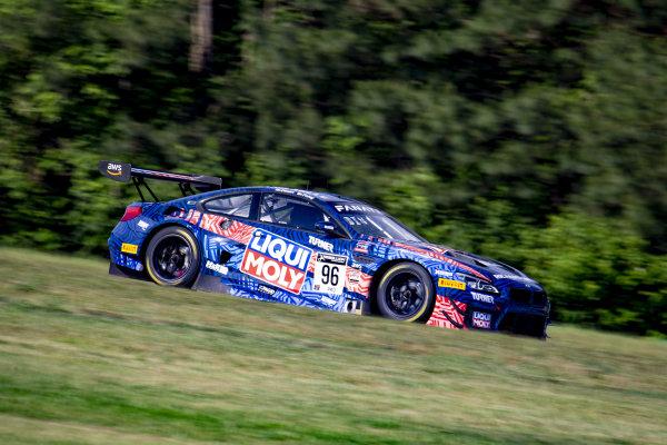 #96 BMW F13 M6 GT3 of Michael Dinan and Robby Foley, Turner Motorsport, Fanatec GT World Challenge America powered by AWS, Pro, SRO America, Virginia International Raceway, Alton, VA, June 2021.
