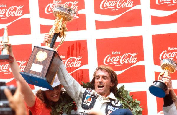 1979 Brazilian Grand Prix.Interlagos, Sao Paulo, Brazil.2-4 February 1979.Jacques Laffite (Ligier Ford) 1st position on the podium.Ref-79 BRA 01.World Copyright - LAT Photographic