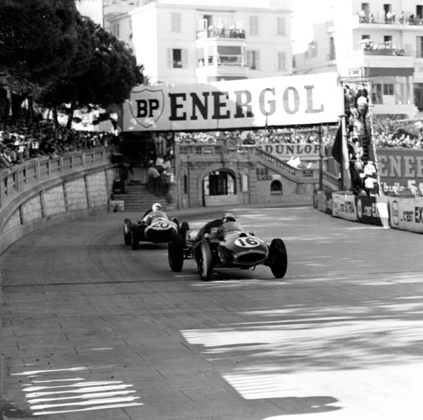 1958 Monaco Grand Prix.Monte Carlo, Monaco.15-18 May 1958.Jack Brabham (Cooper T45 Climax) followed by Maurice Trintignant (Cooper T45 Climax). They finished in 4th and 1st positions respectively. Ref-1940B/W.World Copyright - LAT Photographic