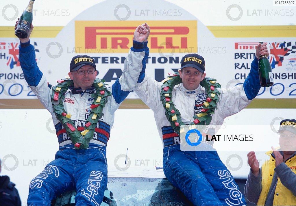 2002 British Rally Championship.Pirelli International Rally, Gateshead, April 26-28 2002.Mark Higgins and Michael Gibson, Ford Focus WRC, Winners.World Copyright: Griffiths/LAT PhotographicRef: 35 mm original transparency