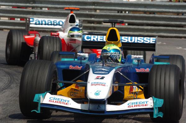 2004 Monaco Grand Prix - Sunday Race, Monaco. 23rd May 2004 Felipe Massa, Sauber Petronas C23, leads Cristiano Da Matta, Toyota TF104, action.World Copyright: Steve Etherington/LAT Photographic ref: Digital Image Only