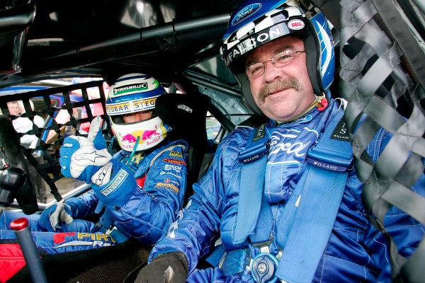 2004 Australian V8 SupercarsSymmons Plain Raceway, Tasmania. November 14th.Marcos Ambrose (Ford Falcon BA) gives a passenger ride.World Copyright: Mark Horsburgh/LAT Photographicref: Digital Image Only