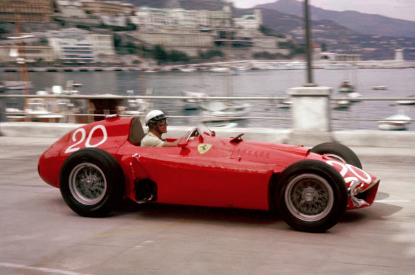 1956 Monaco Grand Prix.  1956 Monaco Grand Prix. Monte Carlo, Monaco. 10-13 May 1956. Eugenio Castellotti (Lancia-Ferrari D50) 4th position, shared with Juan Manuel Fangio. Ref-56 MON 07. World Copyright - LAT Photographic