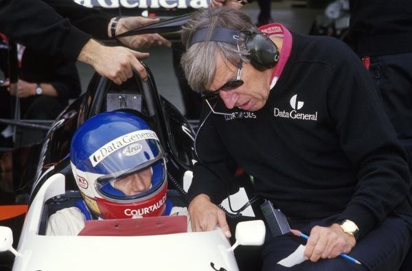 Philippe Streiff (FRA) and Ken Tyrrell, right