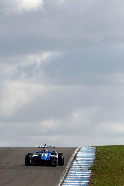 2014 British Formula 3 International Series, Media Day. Donington Park, Leicestershire. 8th April 2014. Andy Chang (MAC) Double R Dallara Mercedes. World Copyright: Jakob Ebrey / LAT Photographic.