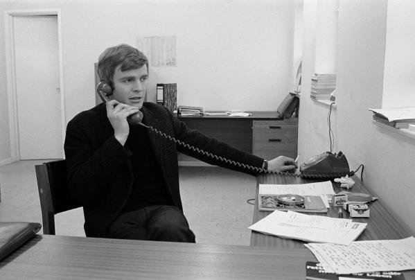 Max Mosley(GBR) founding director of March Engineering at work behind his desk at the March factory , Bicester, Oxfordshire in 1970
