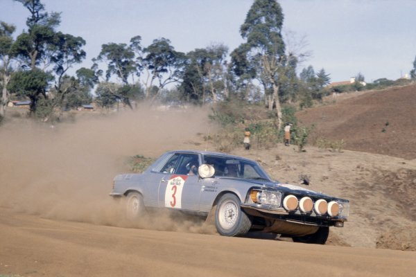 1980 World Rally Championship.Safari Rally, Kenya. 3-7 April 1980.Bjorn Waldegaard/Hans Thorszelius (Mercedes-Benz 450 SLC 5 0), 10th position.World Copyright: LAT PhotographicRef: 35mm transparency 80RALLY09