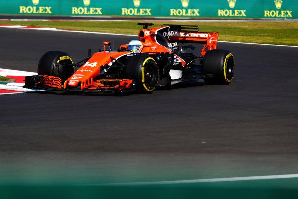 Autodromo Hermanos Rodriguez, Mexico City, Mexico. Friday 27 October 2017. Fernando Alonso, McLaren MCL32 Honda.  World Copyright: Sam Bloxham/LAT Images  ref: Digital Image _J6I8768