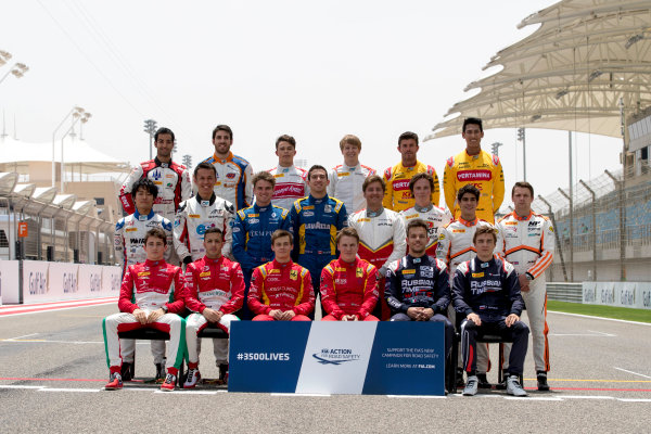 2017 FIA Formula 2 Round 1. Bahrain International Circuit, Sakhir, Bahrain.  Thursday 13 April 2017. Class photo on the grid. Photo: Zak Mauger/FIA Formula 2. ref: Digital Image _56I8926