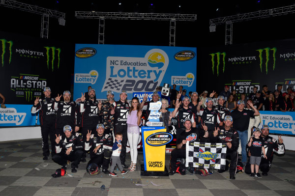 NASCAR Camping World Truck Series North Carolina Education Lottery 200 Charlotte Motor Speedway, Concord, NC USA Friday 19 May 2017 Kyle Busch, Cessna Toyota Tundra celebrates his win in Victory Lane World Copyright: Nigel Kinrade LAT Images ref: Digital Image 17CLT1nk04932