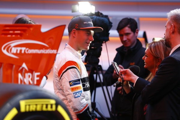 McLaren MCL32 Honda Formula 1 Launch. McLaren Technology Centre, Woking, UK. Friday 24 February 2017. Stoffel Vandoorne, McLaren, is interviewed by the media. World Copyright: Steven Tee/LAT Images Ref: _R3I5434