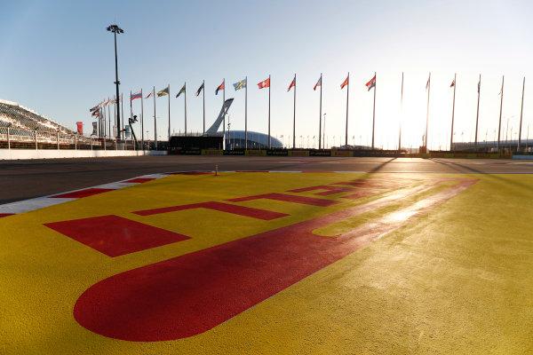 Sochi Autodrom, Sochi, Russia. Thursday 27 April 2017. A scenic view of the Sochi Autodrom, including Pirelli signage.  World Copyright: Glenn Dunbar/LAT Images ref: Digital Image _X4I5454