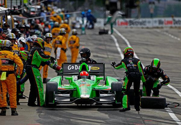 1-3 June, 2012, Detroit, Michigan, USAJames Hinchcliffe makes a pit stop.(c)2012, Phillip G. AbbottLAT Photo USA