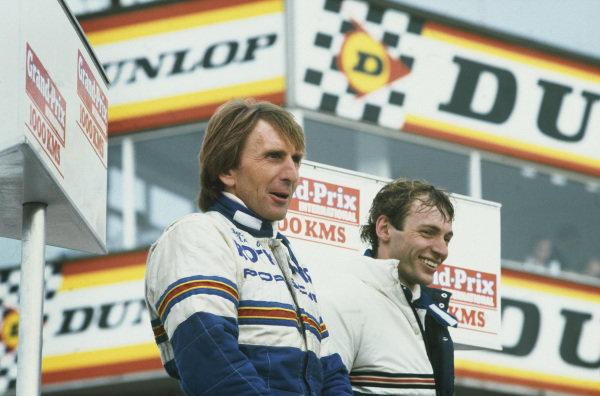 Silverstone, England. 8th May 1983. Rd 2.Stefan Bellof/Derek Bell (Porsche 956), 1st position, podium. World Copyright: LAT Photographic.Ref: 83SIL02