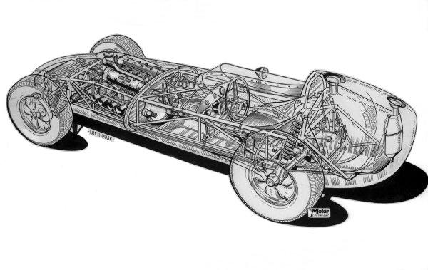1958 Lotus 16-Climax. Cutaway drawing. Ref-Motor CA/96. World Copyright - LAT Photographic