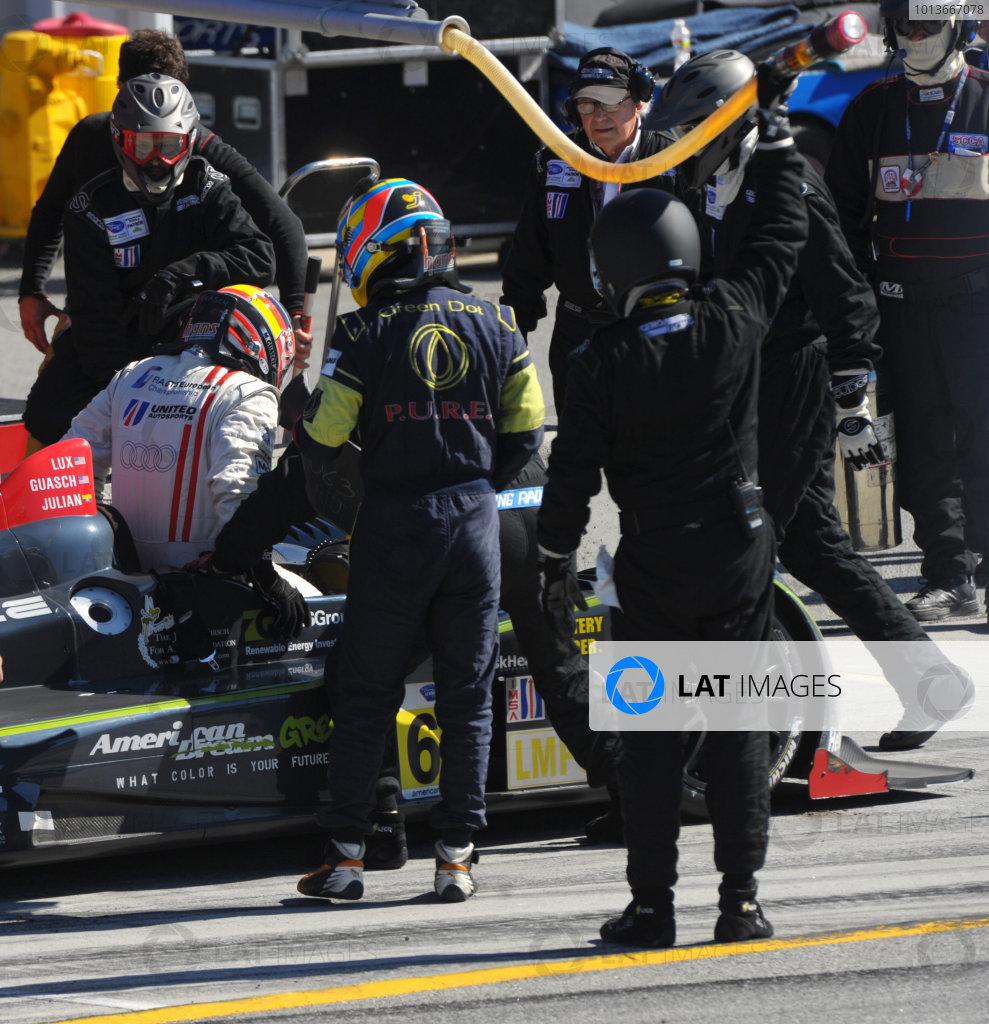 16-18 September, 2011, Monterey, California USA#63 Genoa Racing Oreca FLM09 pitstop and driver change.(c)2011,  Dan R. Boyd  LAT Photo USA