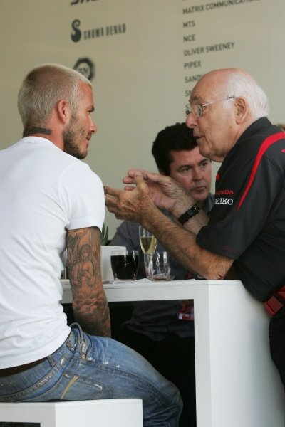 (L to R): David Beckham (GBR) with Murray Walker (GBR) Commentator. Formula One World Championship, Rd 9, British Grand Prix, Race Day, Silverstone, England, Sunday 8 July 2007.