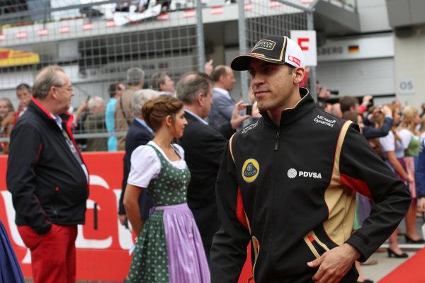 Pastor Maldonado (VEN) Lotus at drivers parade at Formula One World Championship, Rd8, Austrian Grand Prix, Race, Spielberg, Austria, Sunday 21 June 2015.