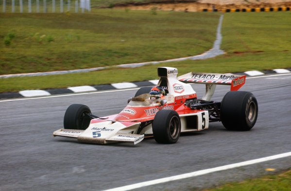 1974 Brazilian Grand Prix  Interlagos, Sao Paulo, Brazil. 25 - 27 January 1974.  Emerson Fittipaldi, McLaren M23 Ford, 1st position.  Ref: 74BRA10. World Copyright: LAT Photographic
