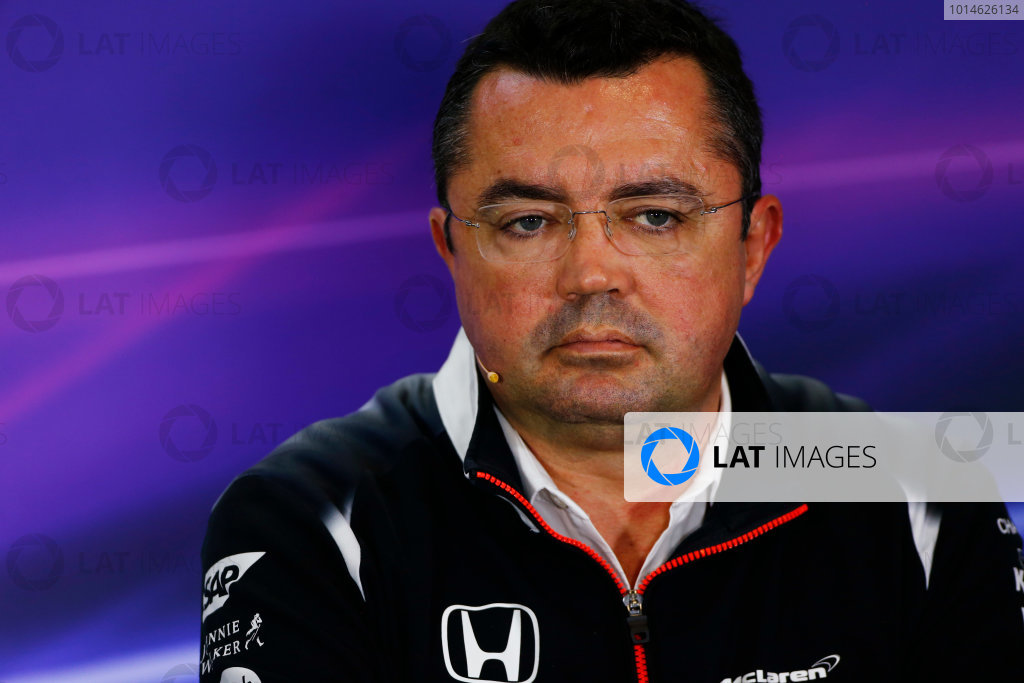 Silverstone, Northamptonshire, UK Friday 08 July 2016. Eric Boullier, Racing Director, McLaren, in the Team Principals Press Conference. World Copyright: Andy Hone/LAT Photographic ref: Digital Image _ONY8142