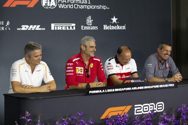 (L to R): Gil de Ferrarn, Sporting Director, McLaren, Maurizio Arrivabene, Team Principal, Ferrari, Frederic Vasseur, Alfa Romeo Sauber F1 Team, Team Principal, and Guenther Steiner, Team Principal, Haas F1 in the Press Conference