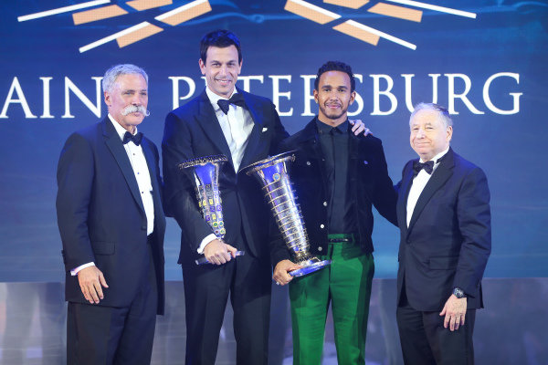 Chase Carey, Toto Wolff, Lewis Hamilton and Jean Todt
