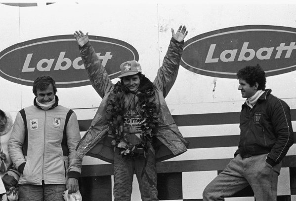 1978 Canadian Grand Prix. Montreal, Quebec, Canada.6-8 October 1978.Left to right: Carlos Reutemann, Gilles Villeneuve (both Ferrari) and Jody Scheckter (Wolf Ford). They finished in 3rd, 1st and 2nd positions respectively.World Copyright - LAT Photographic