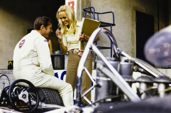 Bruce McLaren with Piers Courage's wife Sally.