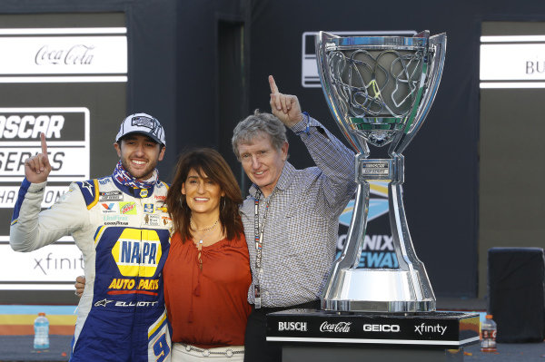 #9: Chase Elliott, Hendrick Motorsports, Chevrolet Camaro NAPA Auto Parts, celebrates after winning the Nascar 2020 Cup Championship with Bill Elliott and Cindy Elliott