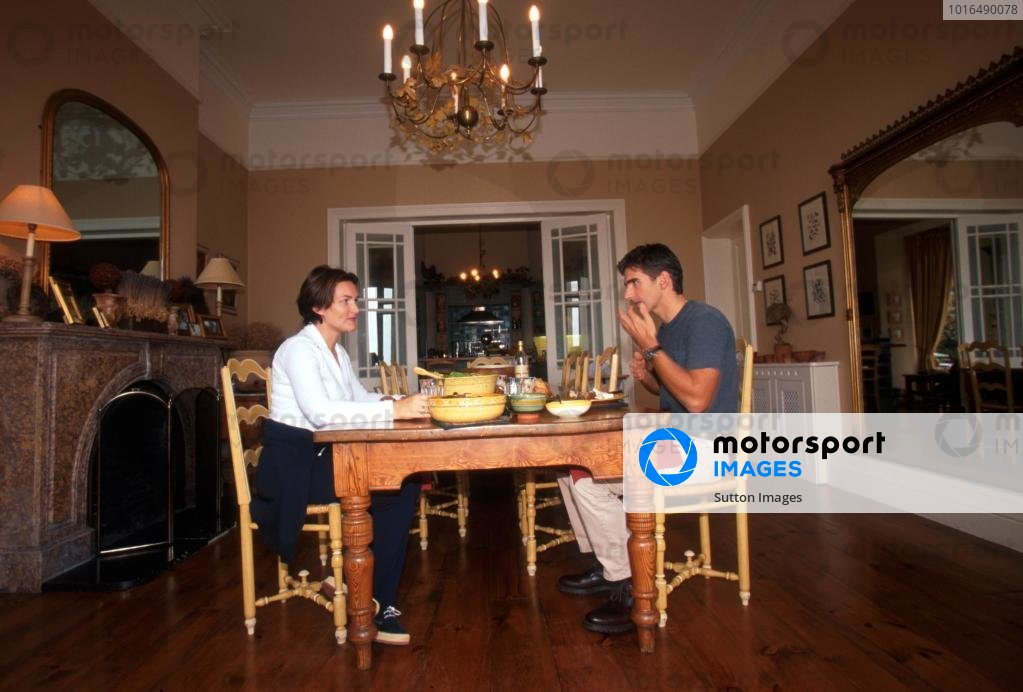 Damon Hill (GBR) enjoys a meal with his wife Georgie at his home in Ireland.Home Feature, Dublin, Eire, 12 October 1998.