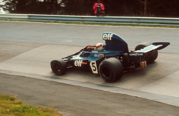 1973 German Grand Prix.Nurburgring, Germany.3-5 August 1973.Jackie Stewart (Tyrrell 006 Ford) 1st position at the Karussell.Ref-73 GER 07.World Copyright - LAT Photographic
