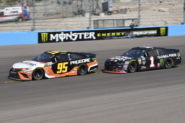 #95: Matt DiBenedetto, Leavine Family Racing, Toyota Camry Procore, #1: Kurt Busch, Chip Ganassi Racing, Chevrolet Camaro Global Poker
