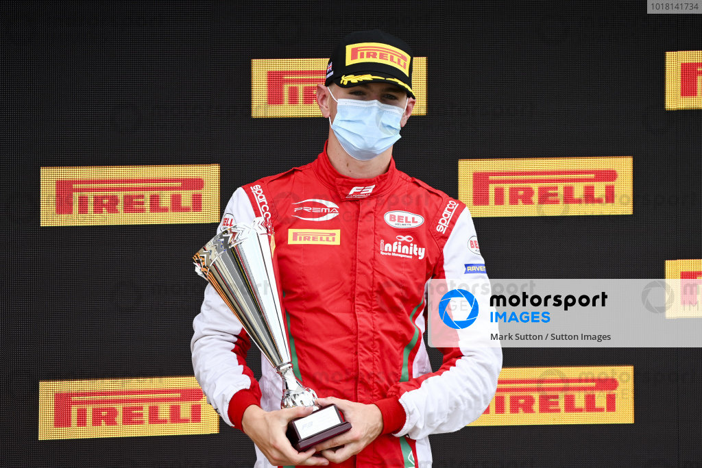 Logan Sargeant (USA, PREMA RACING) on the podium with his trophy
