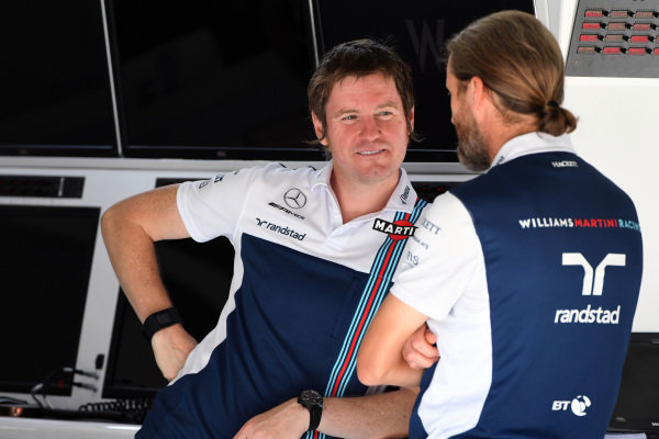 Rob Smedley (GBR) Williams Head of Vehicle Performance and Carl Gaden (GBR) Williams at Formula One World Championship, Rd9, Austrian Grand Prix, Preparations, Spielberg, Austria, Thursday 6 July 2017.