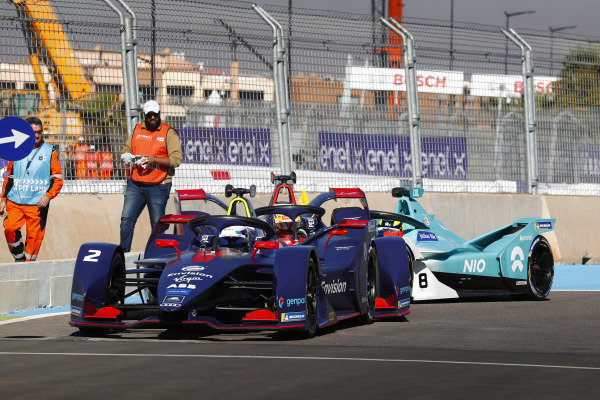 Sam Bird (GBR), Envision Virgin Racing, Audi e-tron FE05, Robin Frijns (NLD), Envision Virgin Racing, Audi e-tron FE05, and Tom Dillmann (FRA), NIO Formula E Team, NIO Sport 004, crash in the pits