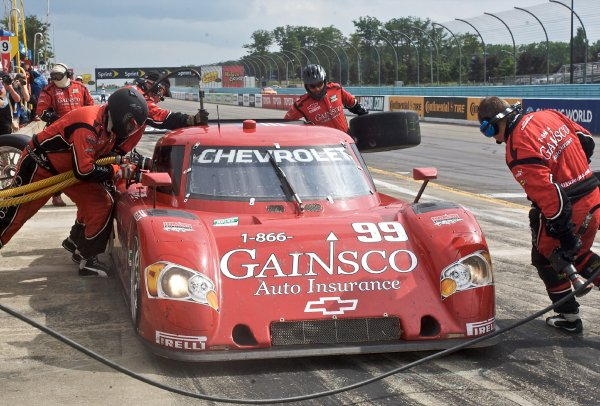 4-5 June, 2010, Watkins Glen, New York, USA The #99 Chevrolet Riley of Alex Gurney, Jon Fogarty, and Jimmie Johnson makes a pits top.  ©2010, R.D. Ethan, USA LAT Photographic