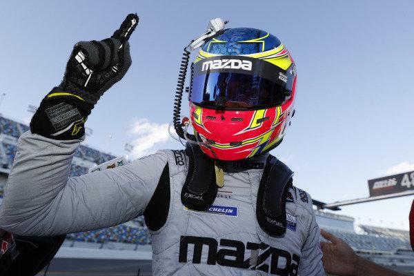 Motul Pole Award winner #77 Mazda Team Joest Mazda DPi, DPi: Oliver Jarvis