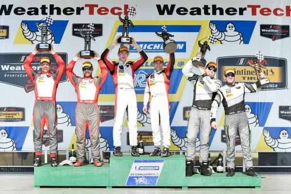 26-28 August, 2016, Alton, Virginia USA 48, Lamborghini, Huracan GT3, GTD, Bryan Sellers, Madison Snow, 9, Audi, R8 LMS GT3, GTD, Lawson Aschenbach, Matt Bell, 44, Audi, R8 LMS GT3, GTD, John Potter, Andy Lally, celebrate the win in victory lane on the podium ?2016, Scott R LePage  LAT Photo USA