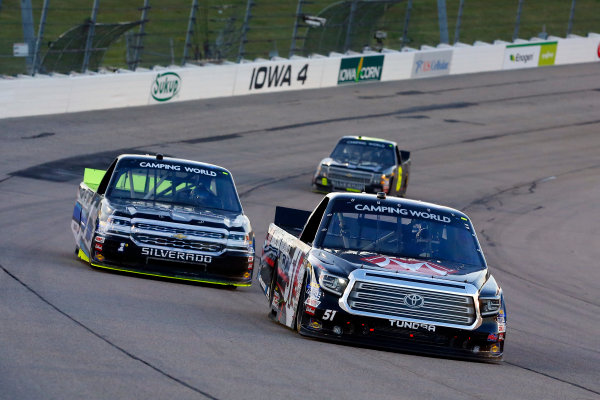 NASCAR Camping World Truck Series M&M?s 200 presented by Casey?s General Store Iowa Speedway, Newton, IA USA Friday 23 June 2017 Harrison Burton, Morton Buildings Toyota Tundra and Jordan Anderson, Fueled by Fans/SponsorJordan.com Chevrolet Silverado World Copyright: Russell LaBounty LAT Images