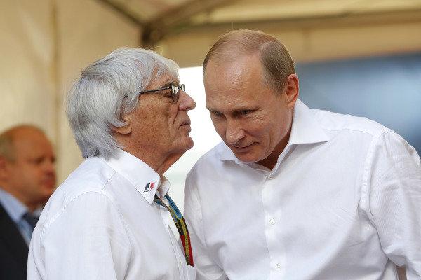 (L to R): Bernie Ecclestone (GBR) CEO Formula One Group (FOM) and Vladimir Putin (RUS), President of Russia. Formula One World Championship, Rd16, Russian Grand Prix, Race, Sochi Autodrom, Sochi, Krasnodar Krai, Russia, Sunday 12 October 2014.