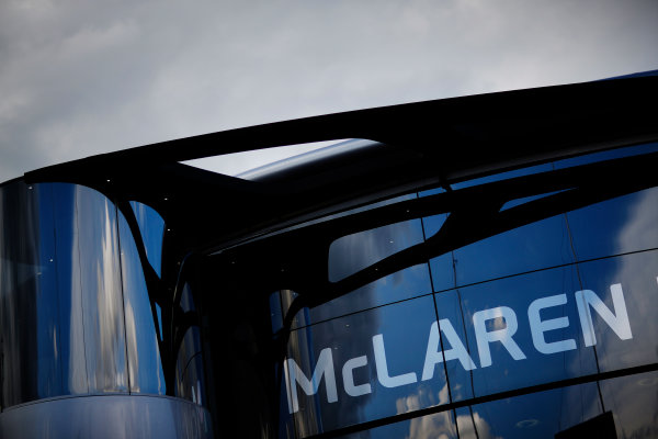 Red Bull Ring, Spielberg, Austria. Friday 19 June 2015. McLaren logo on the Brand Centre. World Copyright: Alastair Staley/LAT Photographic. ref: Digital Image _R6T0796