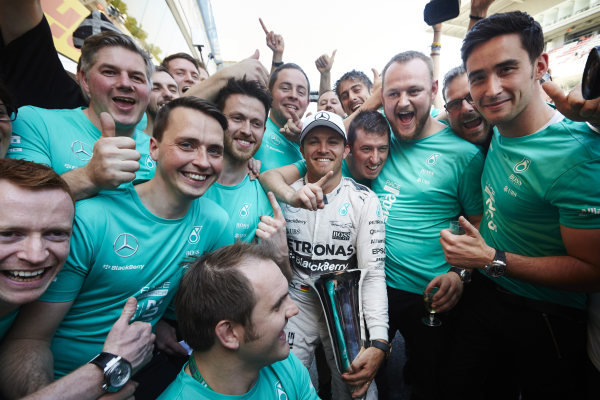 Circuit de Catalunya, Barcelona, Spain. Sunday 10 May 2015. Nico Rosberg, Mercedes AMG, 1st Position, celebrates with his team. World Copyright: Steve Etherington/LAT Photographic. ref: Digital Image SNE10379