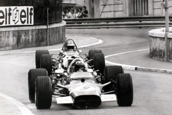 1969 Monaco Grand Prix Monte Carlo, Monaco. 18 May 1969 Jo Siffert, Lotus 49B-Ford, 3rd position, leads Piers Courage, Brabham BT26-Ford, 2nd position, action World Copyright: LAT PhotographicRef: Autosport b&w print