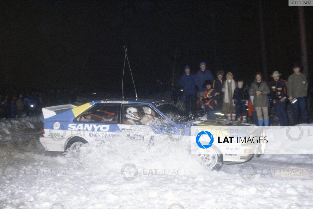 1982 World Rally Championship.Swedish Rally, Sweden. 12-14 February 1982.Stig Blomqvist/Bjorn Cederberg (Audi Quattro), 1st position.World Copyright: LAT PhotographicRef: 35mm transparency 82RALLY02