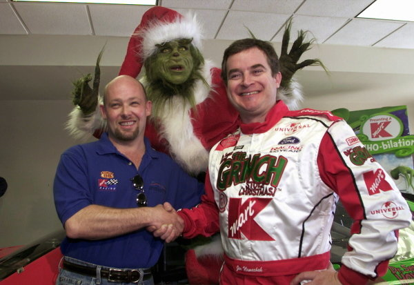 Joe Nemechek (USA) (right) meets new teamate Todd Bodine (Left) with help from the Grinch. Nemechek replaces Jimmy Spencer in the #26 Kmart Ford Taurus for 2002. NASCAR Winston Cup Series, NAPA 500, Atlanta, USA, 17 November 2001.DIGITAL IMAGE