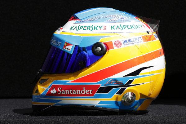 The helmet of Fernando Alonso (ESP) Ferrari. Formula One World Championship, Rd1, Australian Grand Prix, Preparations, Albert Park, Melbourne, Australia, Thursday 14 March 2013.