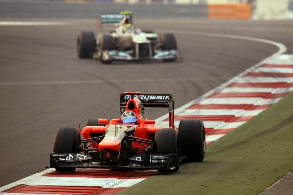 Timo Glock (GER) Marussia F1 Team MR01. Formula One World Championship, Rd17, Indian Grand Prix, Buddh International Circuit, Greater Noida, New Delhi, India, Race, Sunday 28 October 2012.