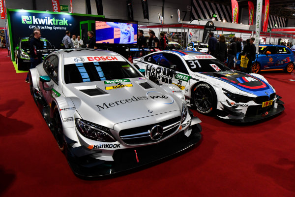 Autosport International Exhibition. National Exhibition Centre, Birmingham, UK. Thursday 11th January 2018. A DTM BMW and Mercedes on display.World Copyright: Mark Sutton/Sutton Images/LAT Images Ref: DSC_7727